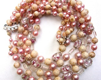 JAPAN 5-Multi Strand Faux Pink Pearl Necklace Earrings Set, Glass Givre Beads, Vintage
