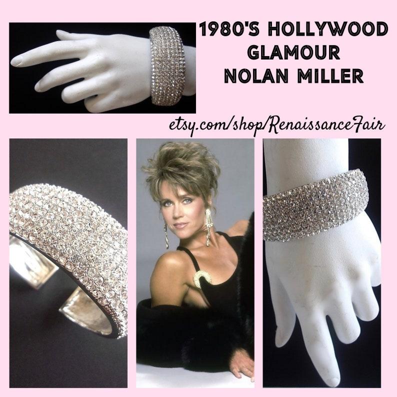 Vintage Silver Plating Chunky Cuff NOLAN MILLER Pave/' Rhinestone Hinged Bracelet