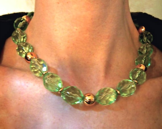 Vintage Signed Napier Chunky Clear Green Large Faceted Lucite Bead Necklace 22\u201d