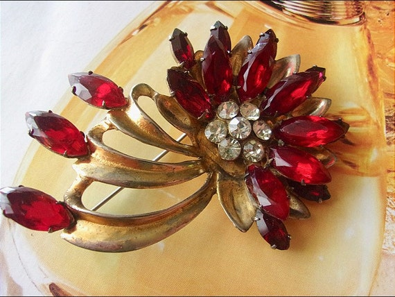 Sterling Silver Vermeil Red Floral Brooch, Gold Gi