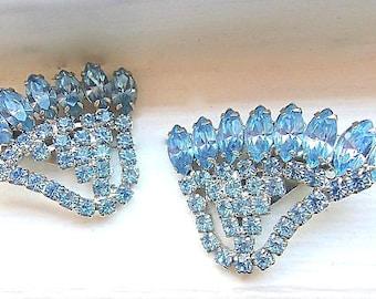 Baby Blue Rhinestone Winged Earrings, Large Vintage