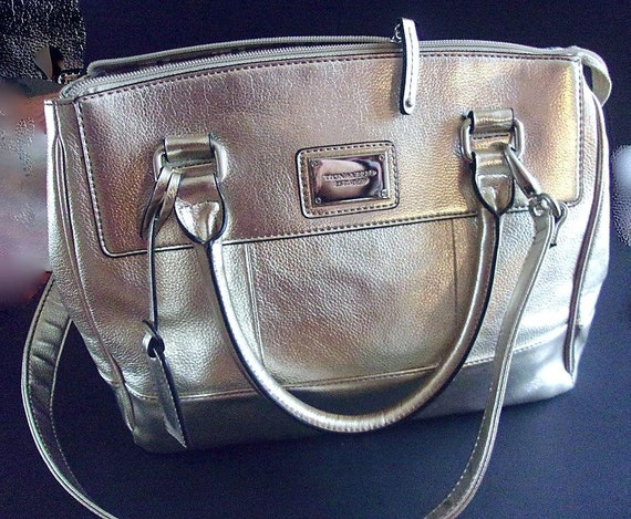 TIGNANELLO Genuine Leather Silver Satchel Bag, Sat
