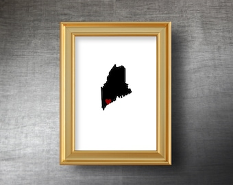 Maine Map Art 5x7 - UNFRAMED Die Cut Silhouette - Maine Print - Maine Wedding - Personalized Text Optional