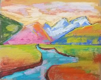 Original pastel drawing vibrant landscape turquoise river home decor 8x10inches home decor color pop