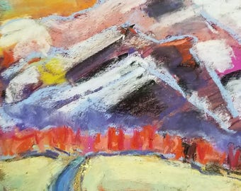 Original pastel drawing fiery mountains wild color abstract landscape 8x10inches home decor
