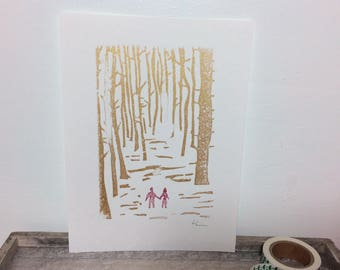 Linocut anniversary, wedding art print - Couple walking through the forest