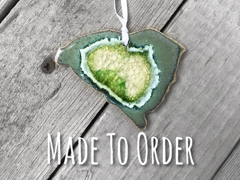 State Christmas Ornament Geode Ornament Personalized Ornament SOUTH CAROLINA Geode Crackle Ornament: Custom Ornament SC Ornament