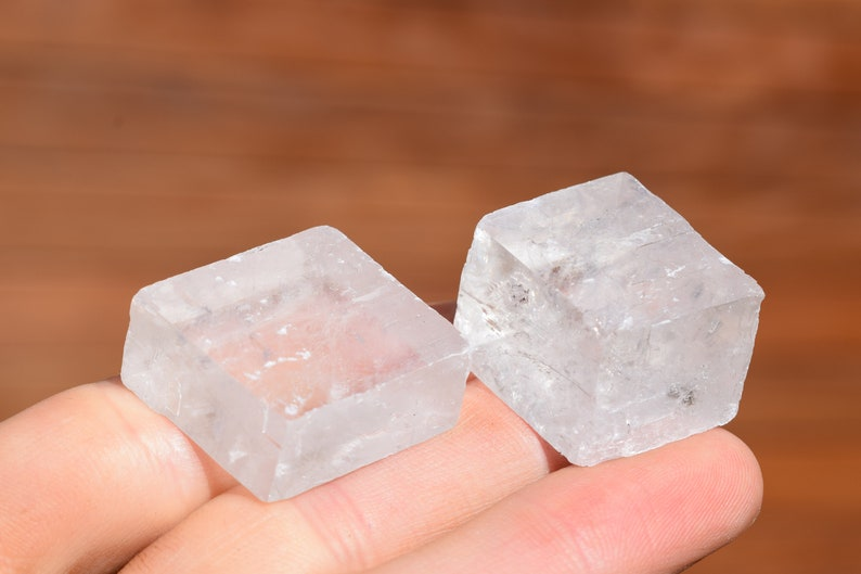 Iceland Spar Megaqhron 2 Optical Calcite Cubes Rough Clear Crystal Viking Sun Stone ~1 Inch Geometric Crystals Natural Minerals