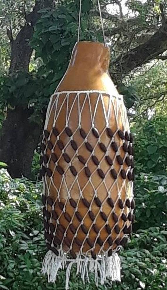Şèkèrè (large Yoruba-style netted gourd rattle)