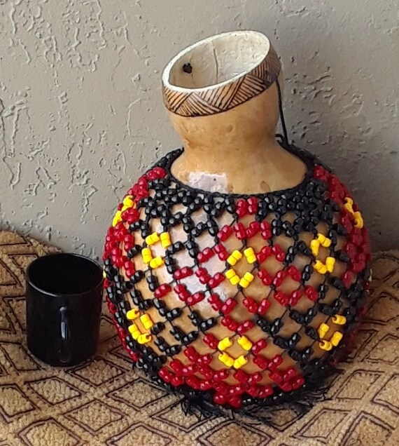 Şèkèrè (medium Yoruba-style netted gourd rattle) FREE DOMESTIC SHIPPING