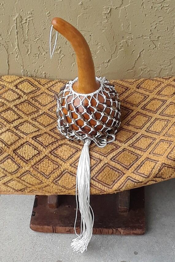Axatse (medium Ewe-style netted gourd rattle)
