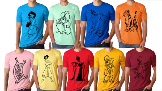 Men/'s Aladdin Genie Face Blue T-Shirt Unisex Disney Adult Tee