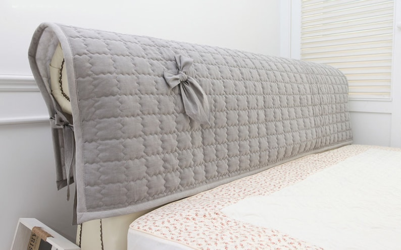 Cotton Bed Headboard Slipcover W Ties Quilted Hood Cover Padded Removable 2 Size