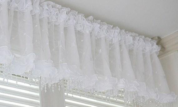 perles blanches valance rideau de fenêtre pure cuisine fenêtre waverly  drape chambre à coucher 59x 15\