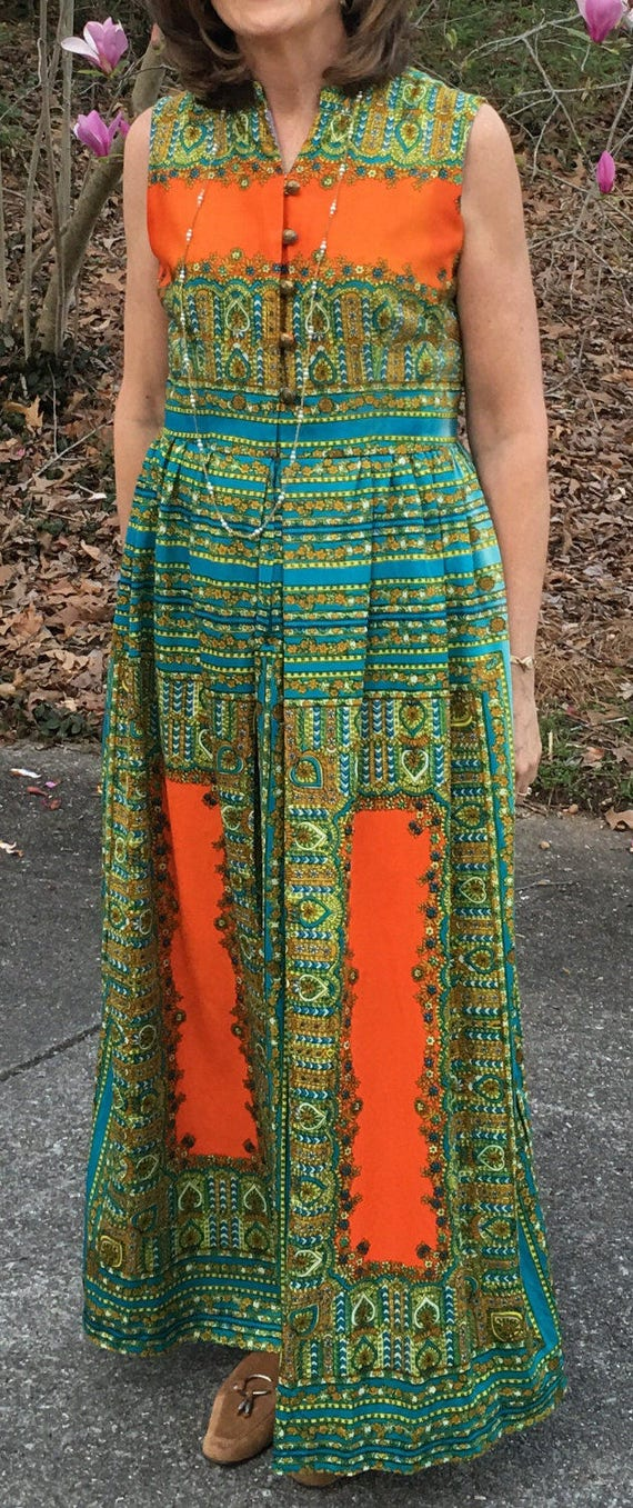 1970's Designer Maxi Dress by Toni Todd