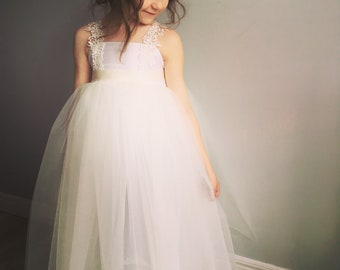 Flower Girl Silk and Lace Tulle Dress
