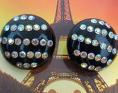 LUCITE vintage rhinestone clip on button earrings