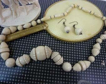 BAKELITE ERA SET Art Deco Gallalith Early Plastic  bead necklace and earrings