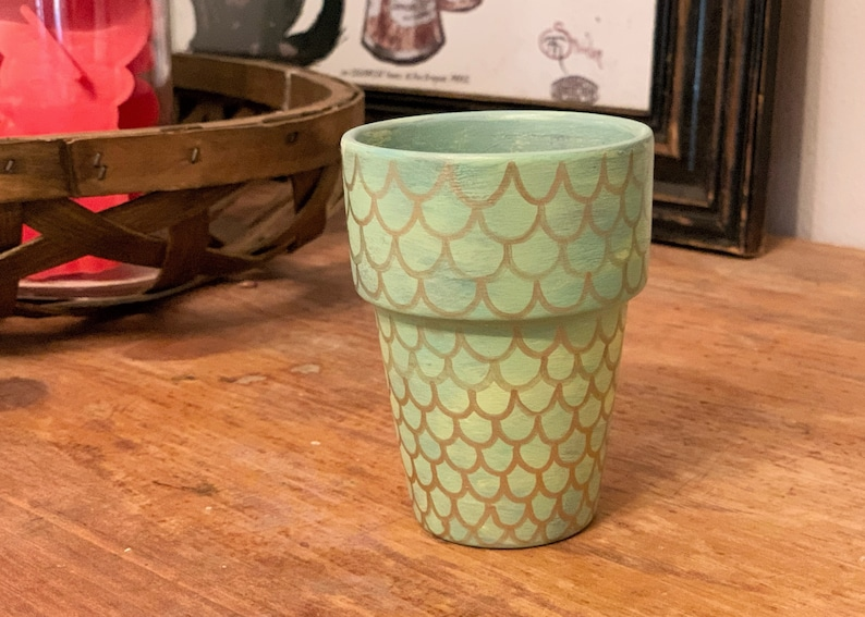 Green Mermaid Scales Hand Painted Flower Pot Small Terra Cotta Planter