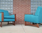 Mid Century Modern Adrian Pearsall Style Turquoise Lounge Chairs