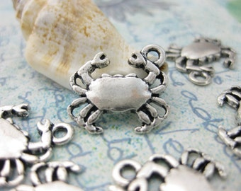 SALE ~ Cancer Crab Rhinestone Charm Silver Plated Lined Bangle Bracelet 7.5 Inches
