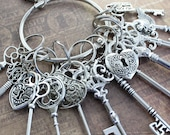 12 Large Skeleton Keys and 4 Lock On A Big Ring Antique Silver