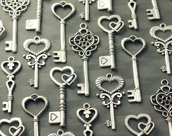 50 Heart Skeleton Key Collection Antiqued Silver Wedding Key Wholesale Lot Bulk Keys Of Spring