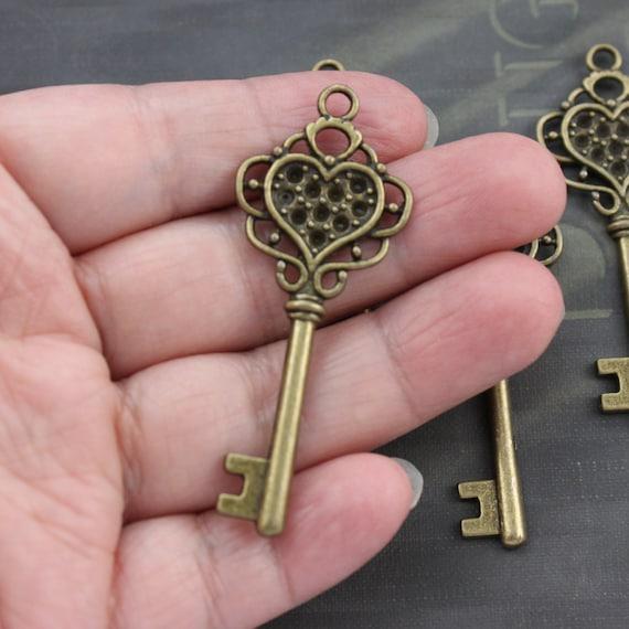 Large Key Pendant Skeleton Key Antique Copper Tone Big Steampunk Charm 80mm