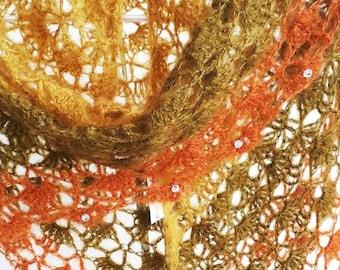 Charme du châle dentelle en mohair et soie couleur automne