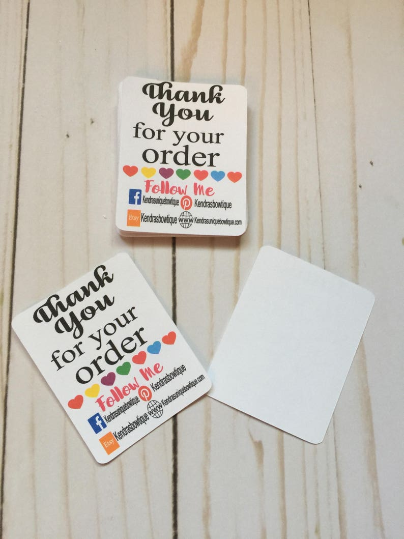 ebc42f74b04bf Tiny thank you follow me cards, tiny thank you cards, thank you cards,  handmade printed cards, card stock, colorful customizable cards