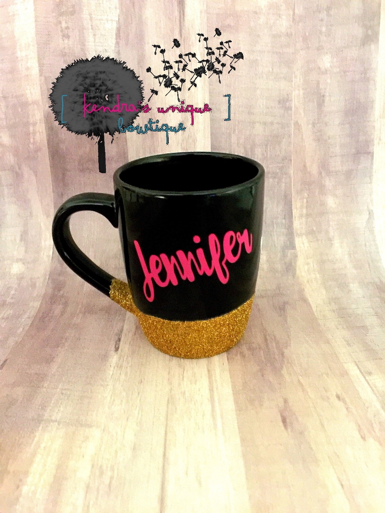 Custom name glittered coffee cup Name mug name coffee cup image 0