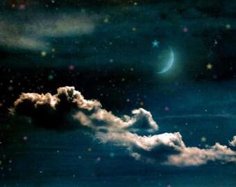 "Night Photography, Moon Art, Dreamy Art, Starry Sky Photography, Romantic Photography, Fine Art Photography, Nursery Decor, ""Lullaby"""