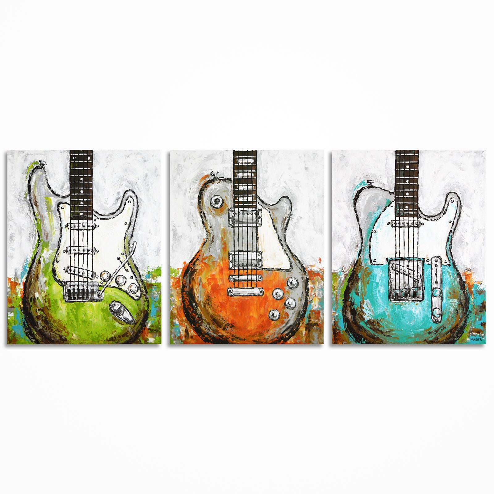 guitare peinture guitare art musique art cadeau pour un etsy. Black Bedroom Furniture Sets. Home Design Ideas