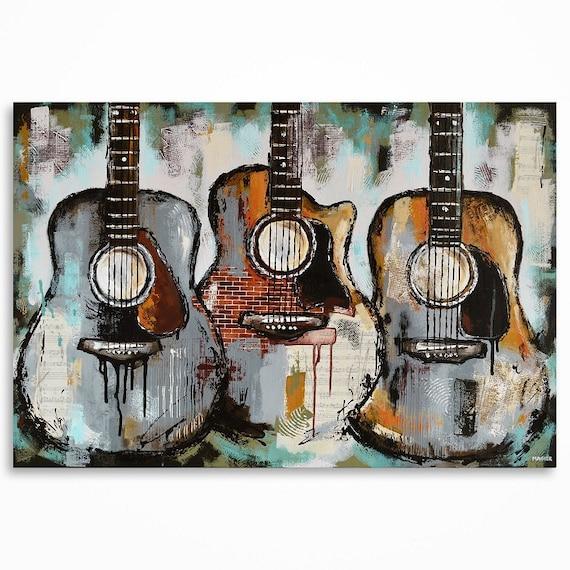 art de la guitare guitare peinture cadeau pour un musicien. Black Bedroom Furniture Sets. Home Design Ideas