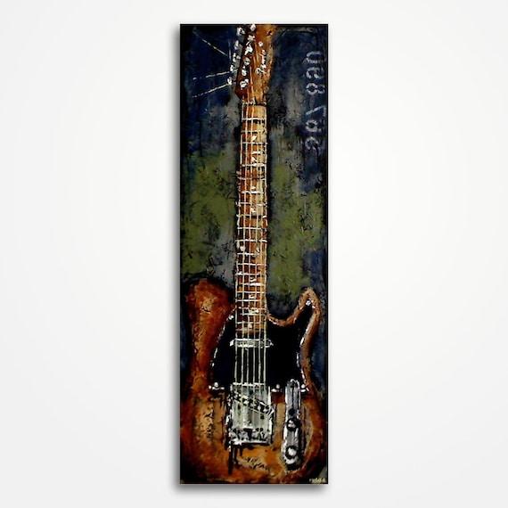 peinture de guitare musique art cadeau pour un musicien la. Black Bedroom Furniture Sets. Home Design Ideas