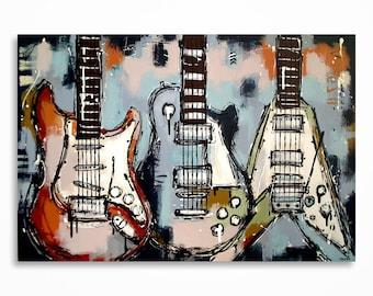 peinture de guitare musique art cadeau pour un musicien. Black Bedroom Furniture Sets. Home Design Ideas