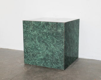 Cube side table etsy sold vintage faux green marble side cube block table 70s 80s watchthetrailerfo