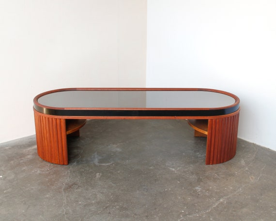 Vintage Mahogany Wood Racetrack Oval Coffee Table With Smokey Mirror Top