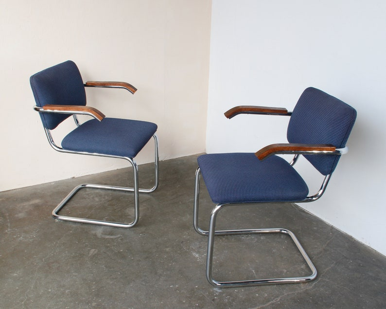Sold Out Pair Of Navy Upholstered Cesca Chairs Mid Century Vintage Modern
