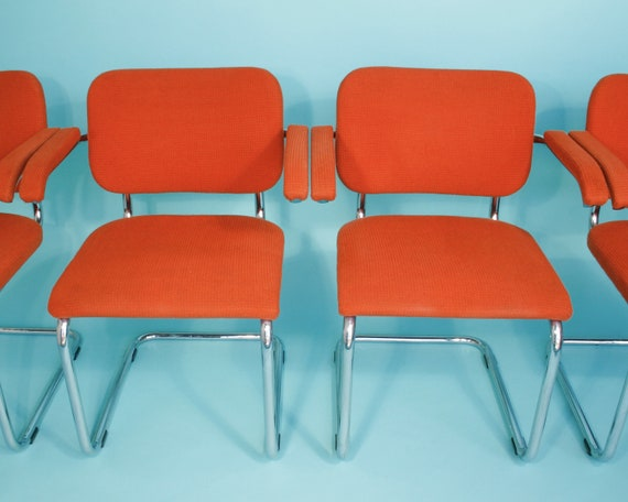 Set Of 4 Persimmon Upholstered Cesca Chairs By Thonet Mid Century Vintage Modern