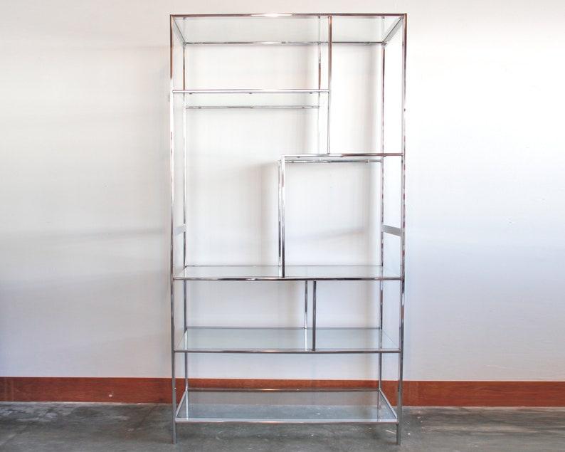 Strange Chrome Glass Etagere Book Shelf Shelving Unit Mid Century Hollywood Regency Home Remodeling Inspirations Basidirectenergyitoicom