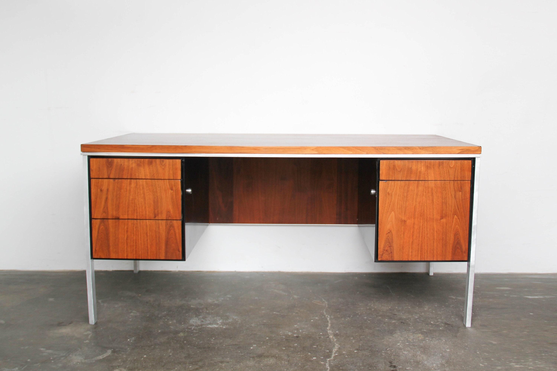 Mid Century Modern Walnut Wood Executive Desk With Aluminum Etsy