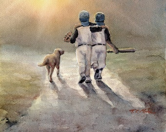 Two Boys Ready to Play Baseball with Dog Art print of Watercolor Painting - Baseball Players with Dog