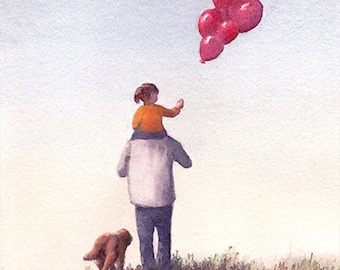 Father and Daughter Art Print of Watercolo Painting - Father and Daughter Holding a Balloon, dog, Nursery Decor, Girl's Room
