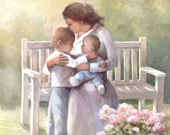 Mother and  Her Children in the Garden - Art Print -  Love - Nursery  - Family- Mother's day