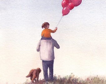 Art Print of  Watercolor painting - Father and Daughter holding Balloons with Dog at Park