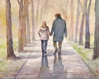 Father and Daughter Walking In The Park Art print of watercolor painting - Trees, Park