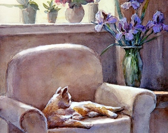 Cat on a couch, Art print of Watercolor Painting -  Pet, Boy's Room, Girl's Room, Childhood