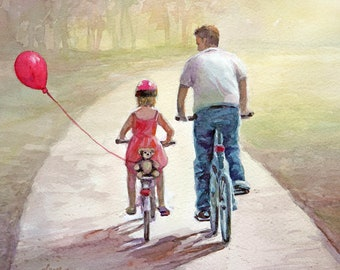 Father and Daughter Bicycling with a red balloon - Art Print of Original watercolor