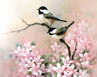 Chickadees ,  Pink Flowers -  Art Print of Watercolor Painting